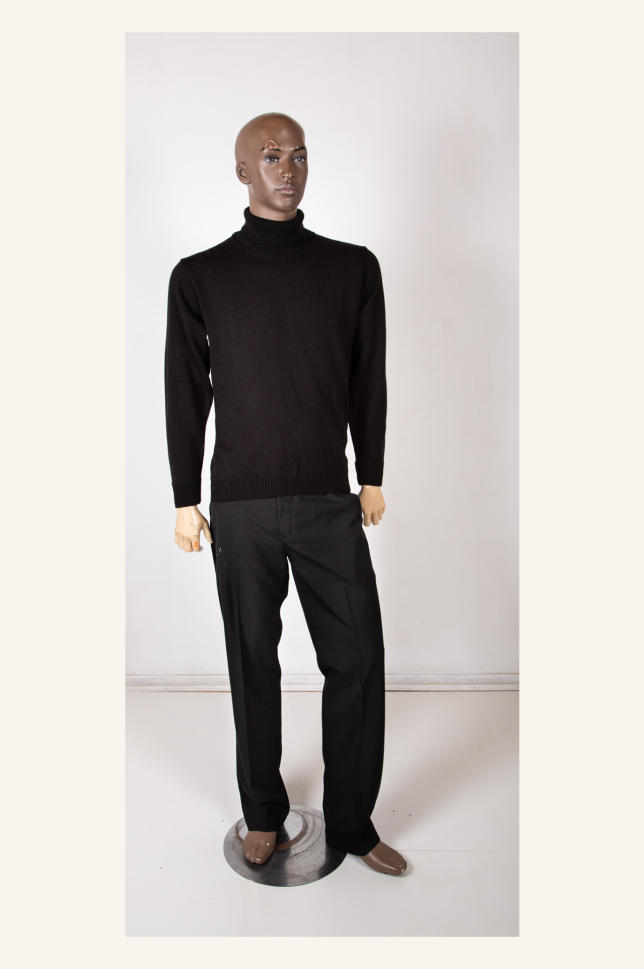 Black Long Sleeve Polo Neck Jersey
